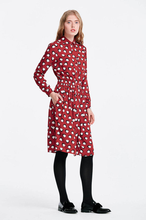 Red shirt dress, penguins print photo 6 - MustHave online store