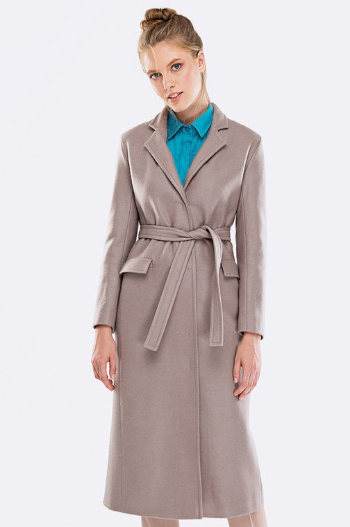 Below the knee beige coat with a belt