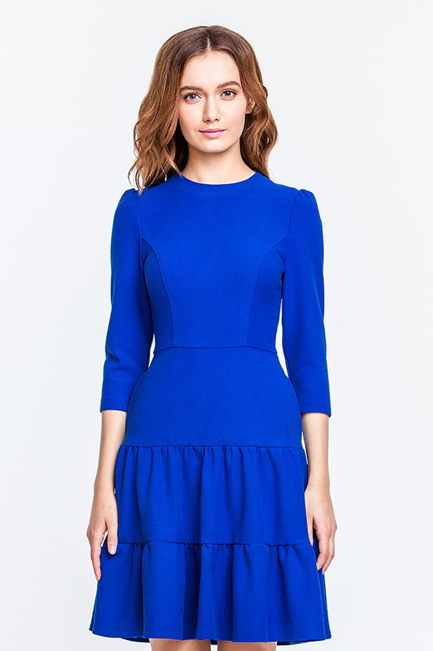 Blue dress with a threefold skirt and puffed sleeves photo 1 - MustHave online store