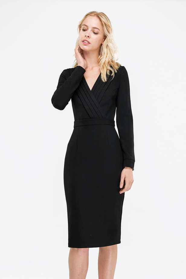Black column dress with pleats on the chest photo 1 - MustHave online store
