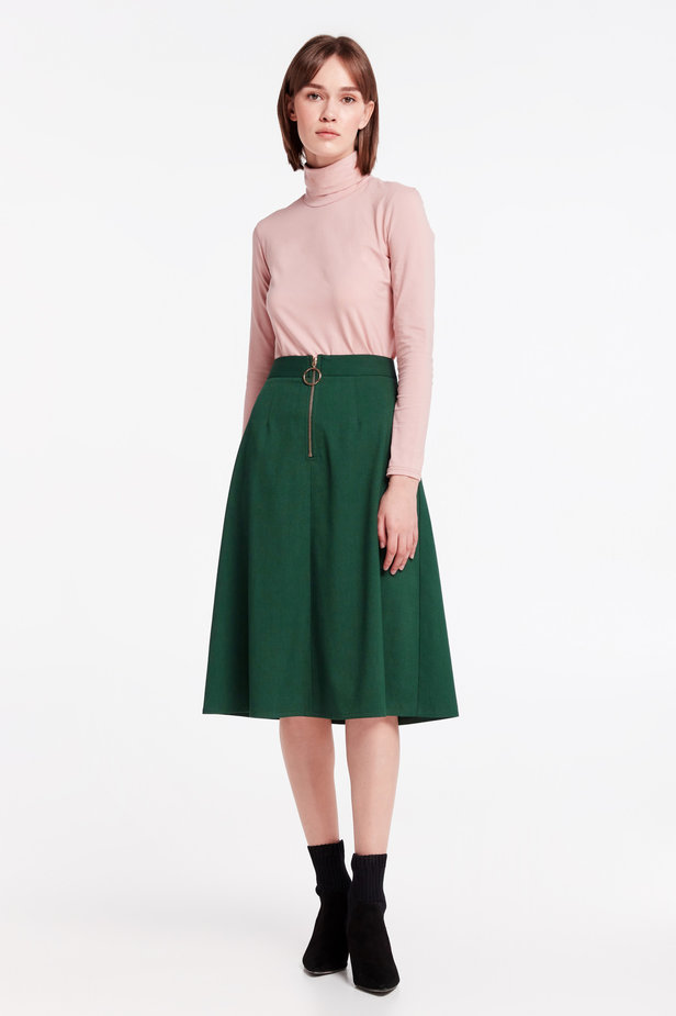 Green midi dress with a front zip photo 2 - MustHave online store