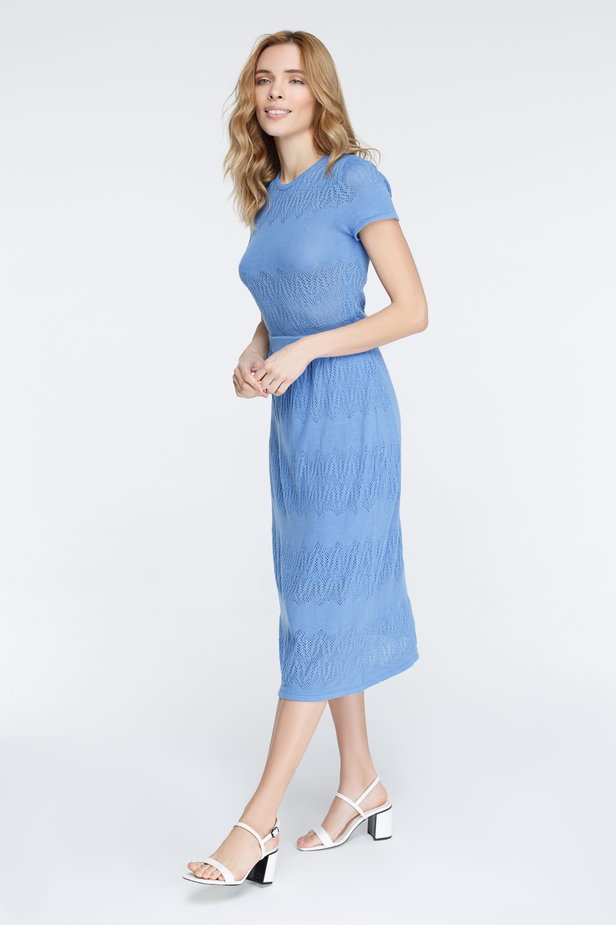 Blue knitted dress photo 1 - MustHave online store