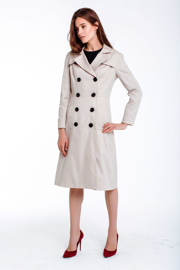 Double-breasted beige trenchcoat photo 2 - MustHave online store