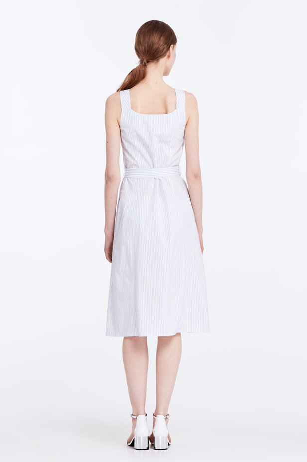 White sundress with blue stripes and a belt photo 6 - MustHave online store