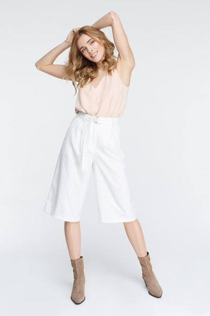 White culottes with black stripes