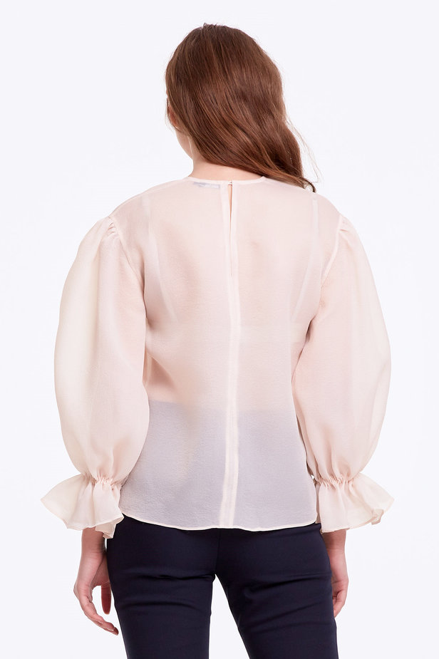 Beige organza blouse with balloon sleeves photo 5 - MustHave online store