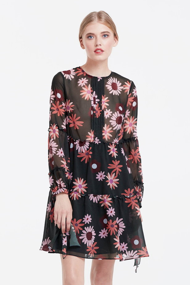 Dress with a floral print, flounces and ties photo 1 - MustHave online store
