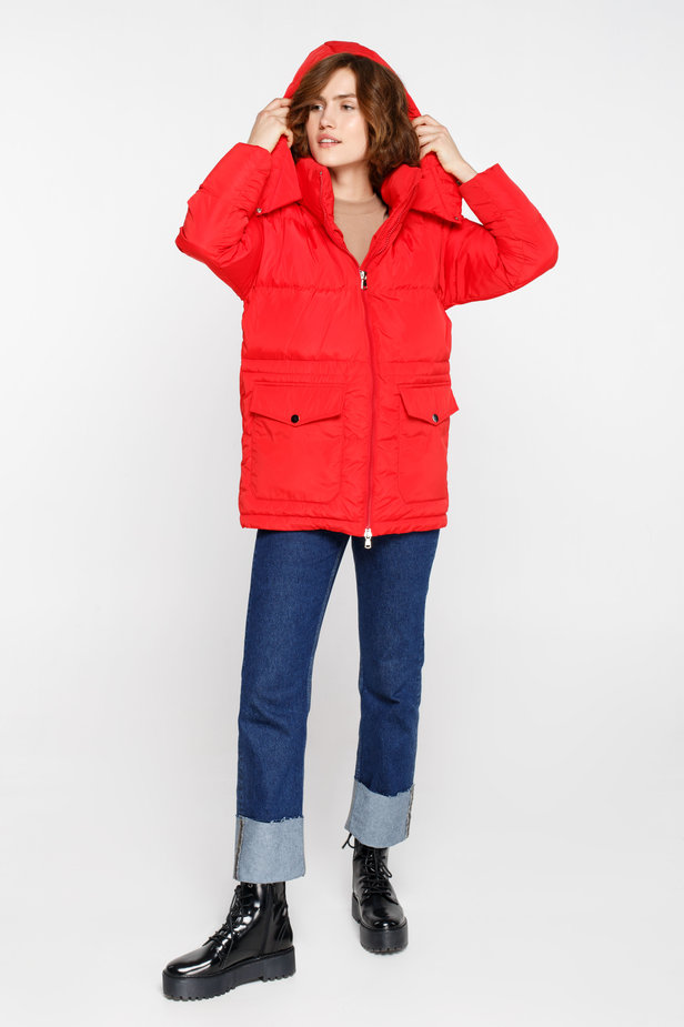 Red down jacket with a hood and pockets photo 3 - MustHave online store