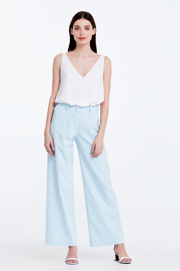 Wide leg blue trousers photo 2 - MustHave online store