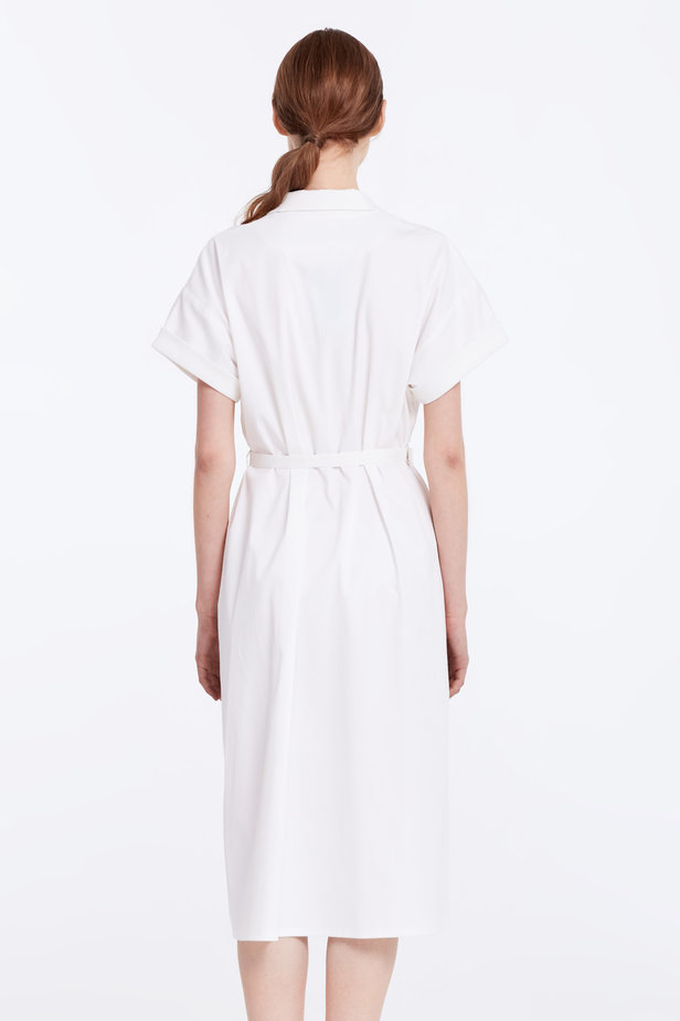 White dress with buttons and a belt photo 5 - MustHave online store