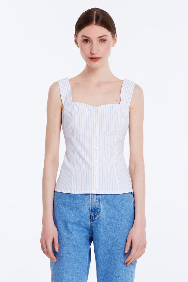 White top with blue stripes and buttons photo 1 - MustHave online store