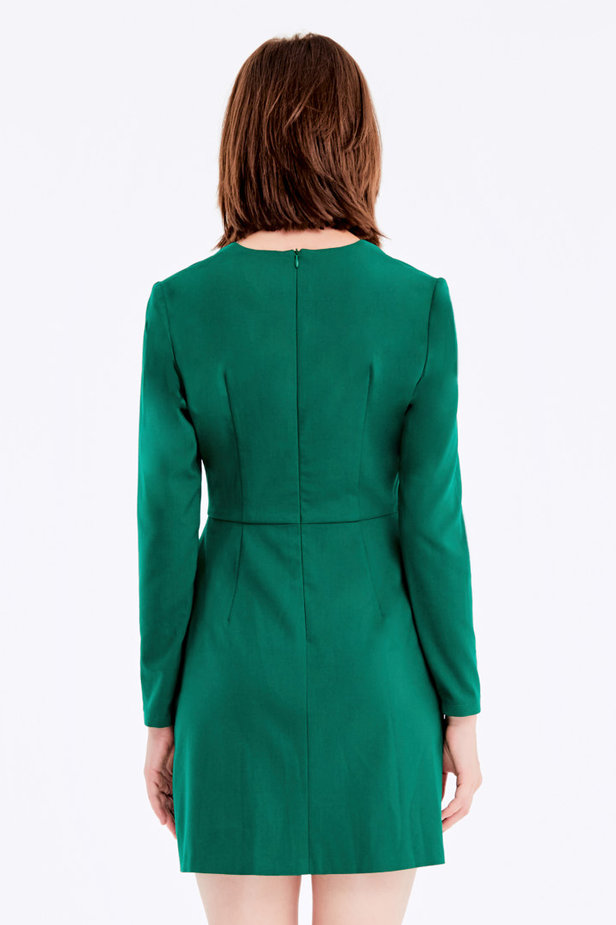 Wrap V-neck MustHave green dress photo 5 - MustHave online store