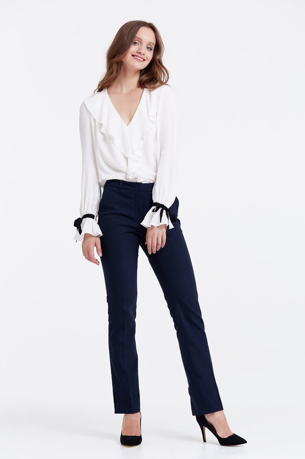 Dark blue trousers with slits photo 2 - MustHave online store
