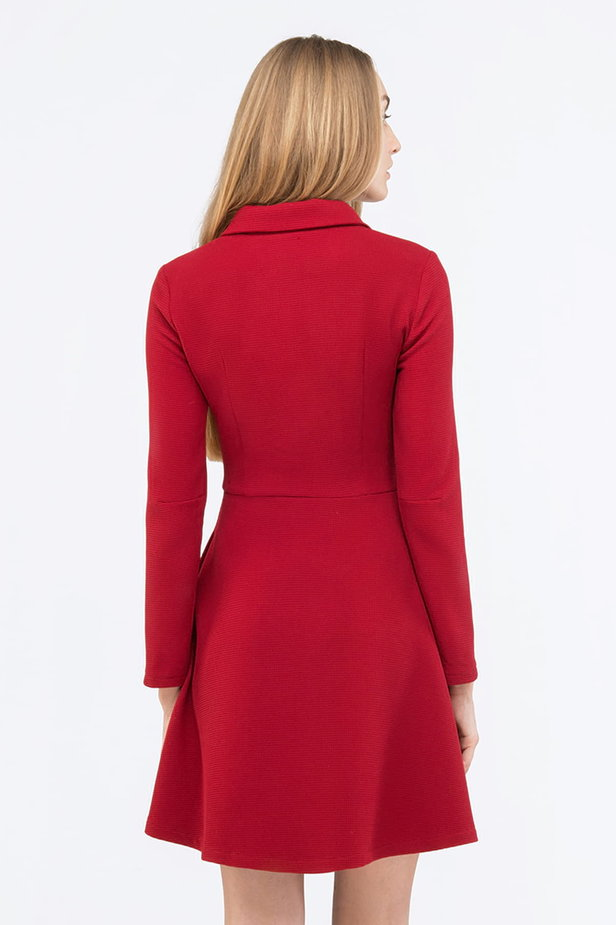 Red mini dress with a concealed placket photo 3 - MustHave online store