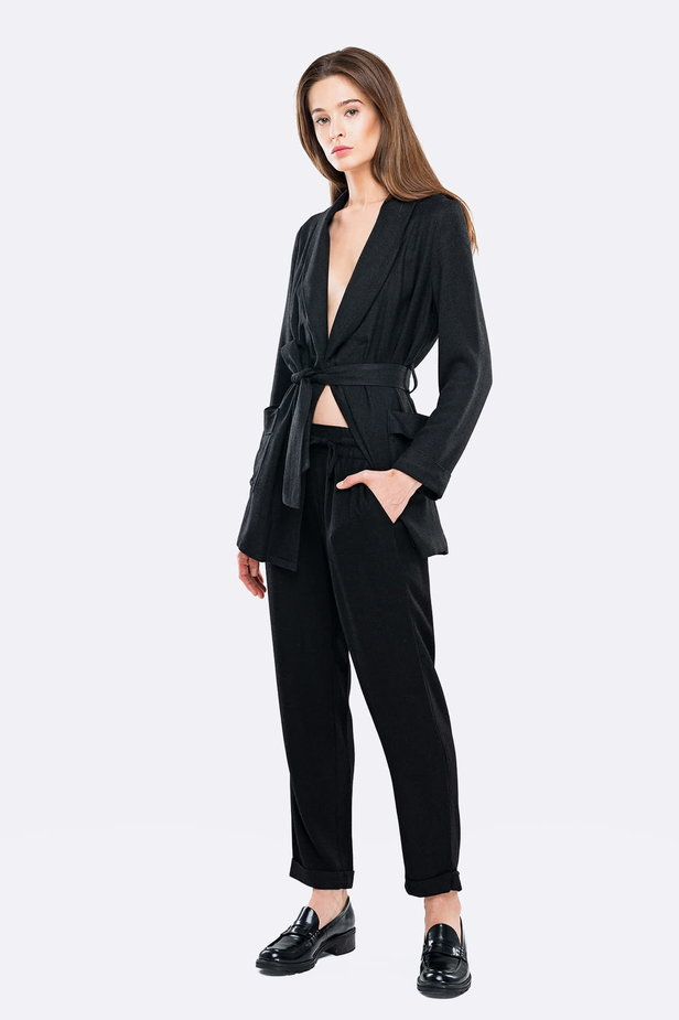 Swing black jacket with a belt photo 3 - MustHave online store