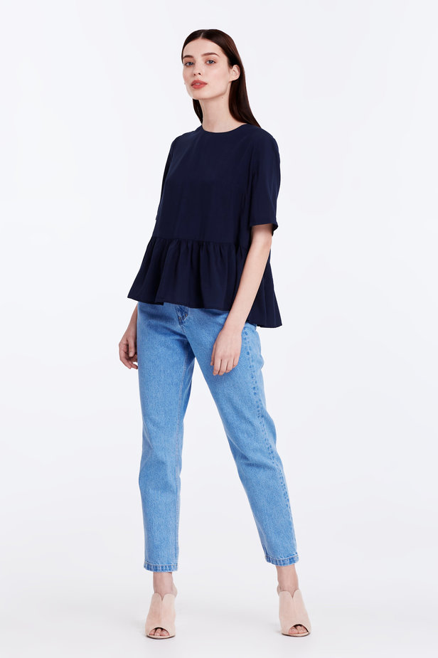 Dark-blue top with a flounce photo 3 - MustHave online store