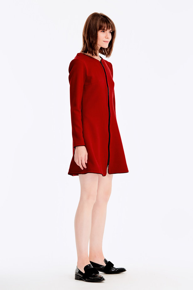 Wine-color short dress with a zip photo 5 - MustHave online store