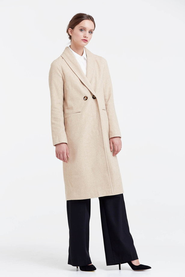 Below the knee double-breasted beige coat photo 5 - MustHave online store