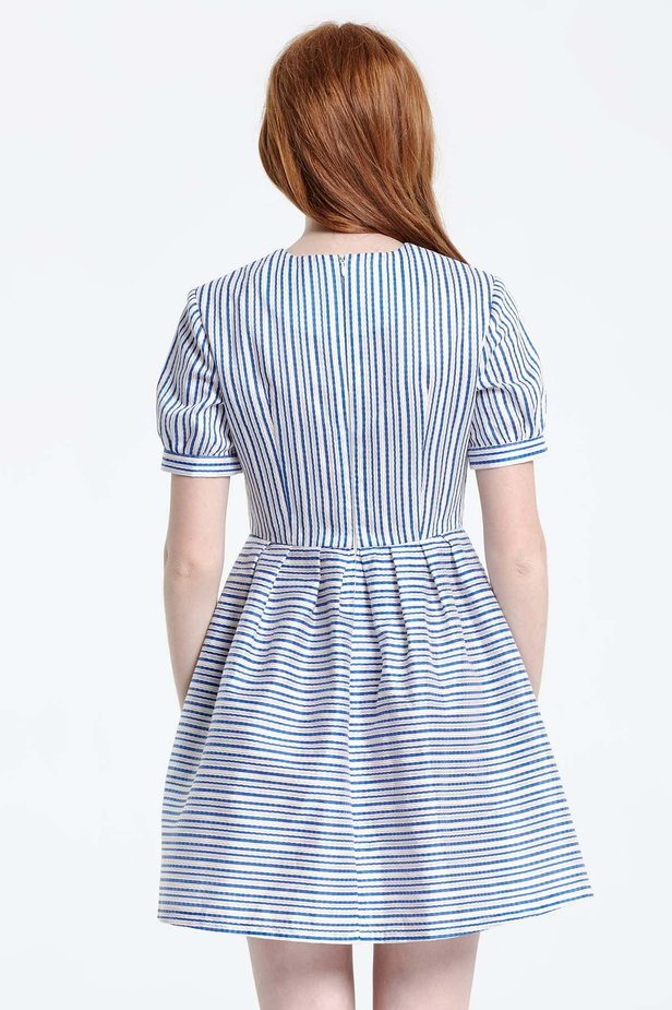 Mini dress with white and blue stripes photo 4 - MustHave online store