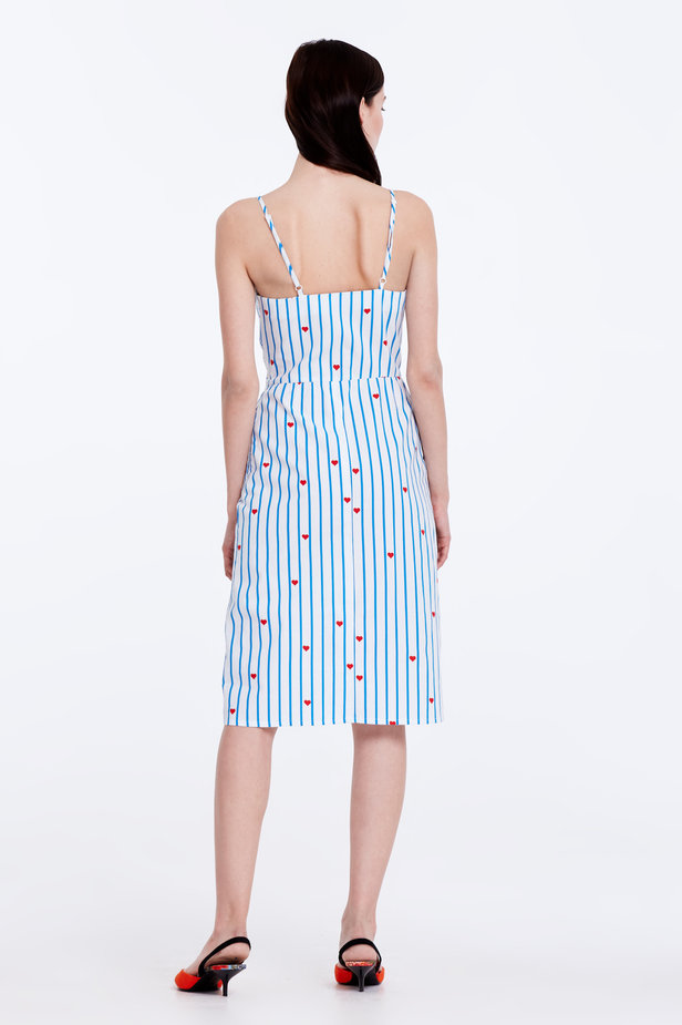 Sundress with blue stripes, hearts and ties photo 7 - MustHave online store
