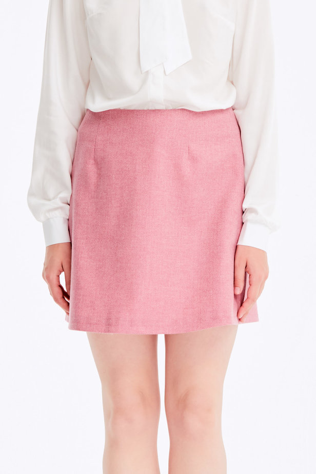 Mini skirt with pink herringbone print photo 1 - MustHave online store