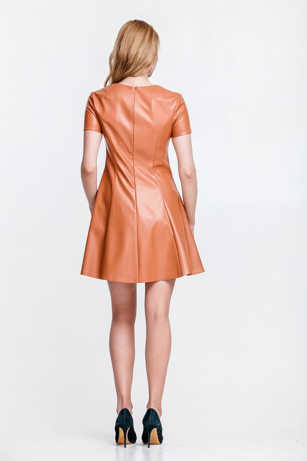 Beige leather mini dress, flared photo 3 - MustHave online store