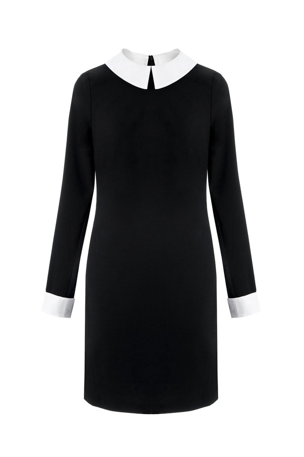 Black dress with a white collar photo 2 - MustHave online store