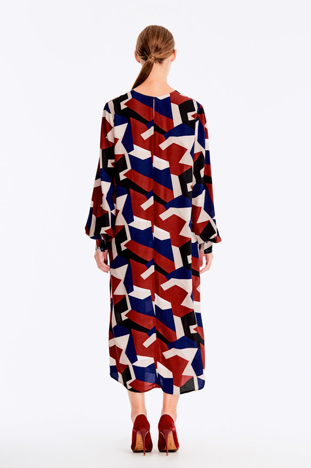 Free midi dress with variegated geometric print ¶¶ photo 10 - MustHave online store