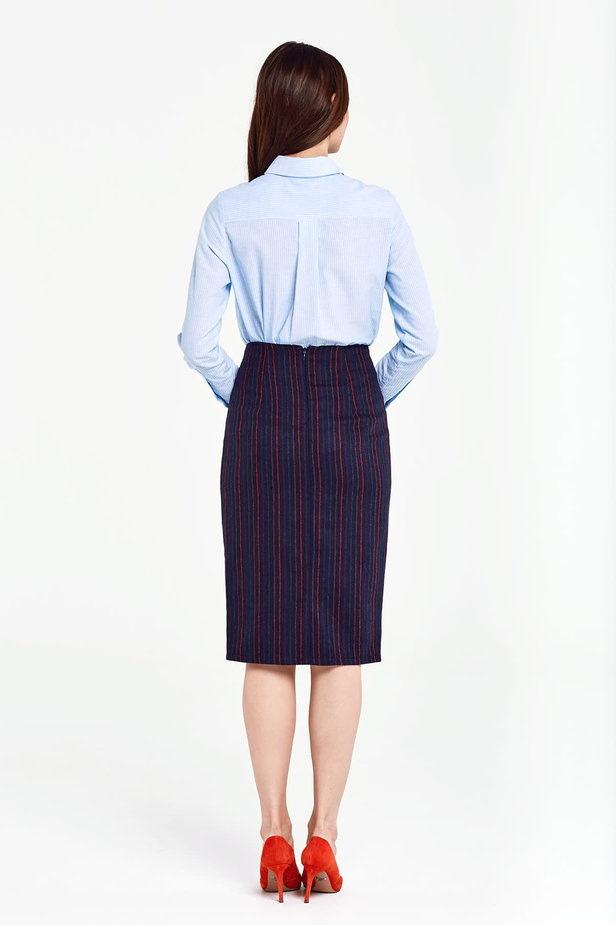 Below the knee dark blue pencil skirt with red stripes photo 4 - MustHave online store