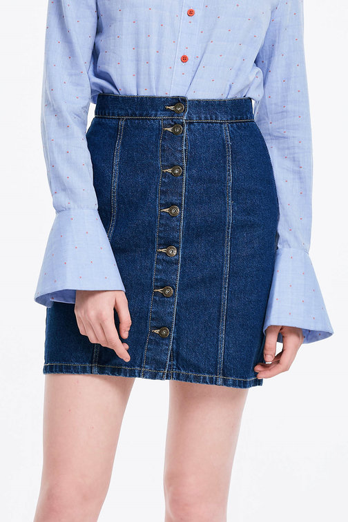 Mini denim skirt with buttons