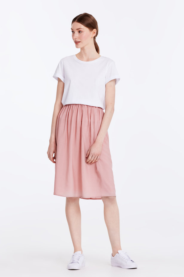 Below the knee powder pink skirt with an elastic waistband photo 3 - MustHave online store