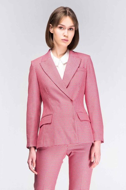 Pink-red houndstooth jacket