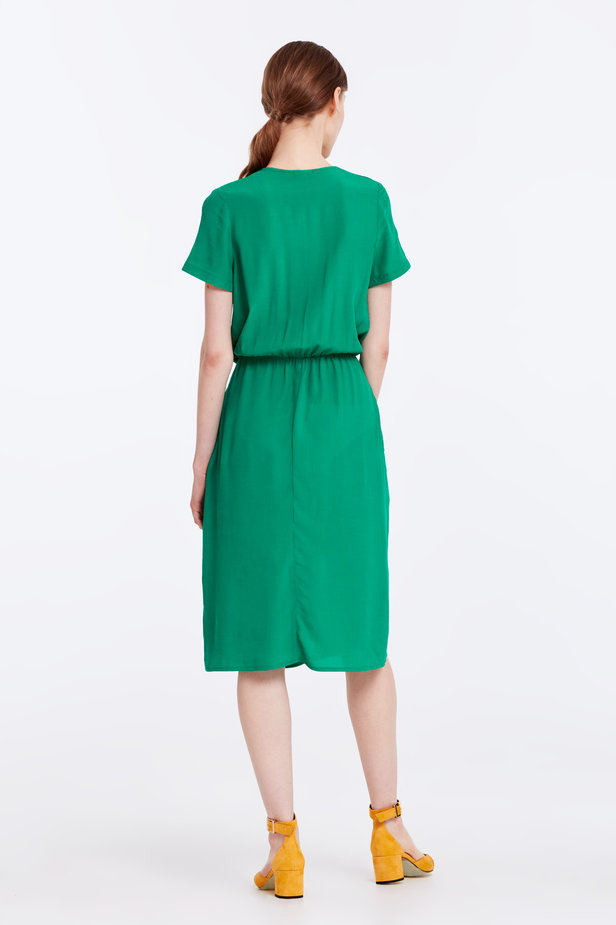 Green dress with ruffles photo 6 - MustHave online store