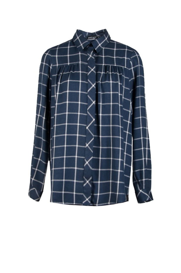 Checked shirt with pleats on the chest photo 2 - MustHave online store