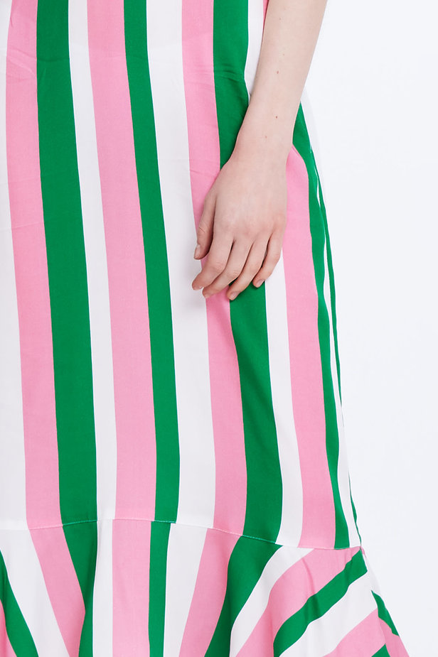 Sundress with white, green and pink stripes and a flounce photo 2 - MustHave online store
