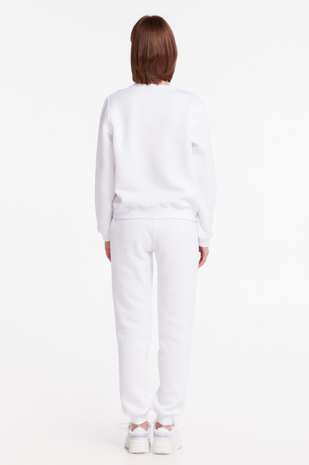 White sweatshirt with print and cuffs photo 6 - MustHave online store
