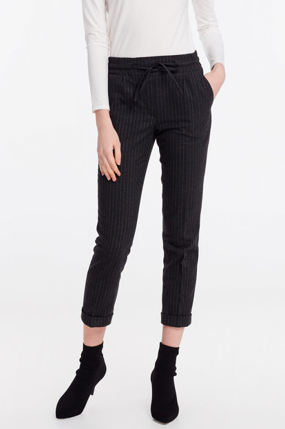 Grey striped pants with an elastic band