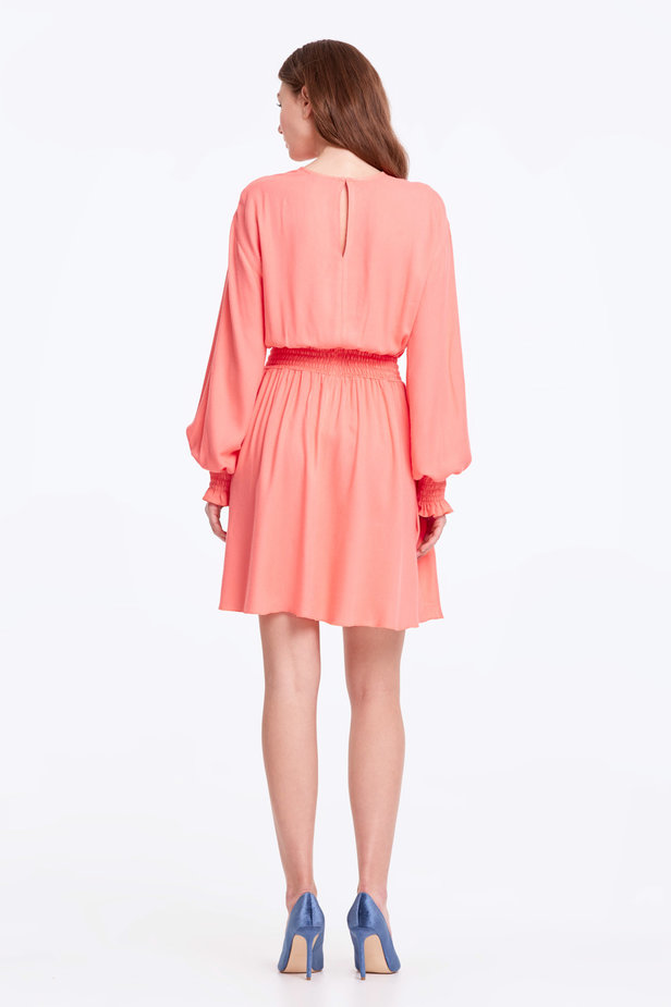 Coral dress with an elastic waistband photo 4 - MustHave online store