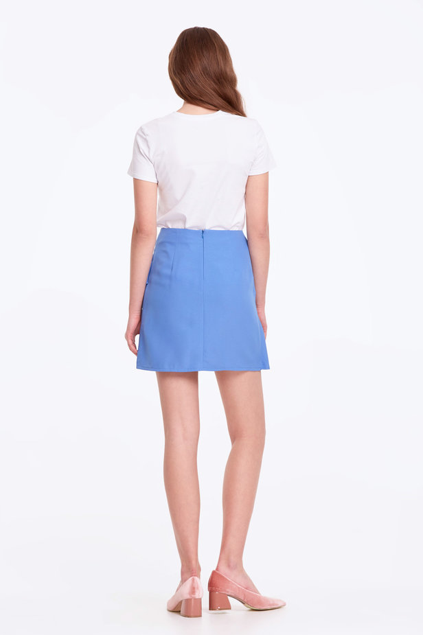Mini blue skirt with a flounce photo 5 - MustHave online store