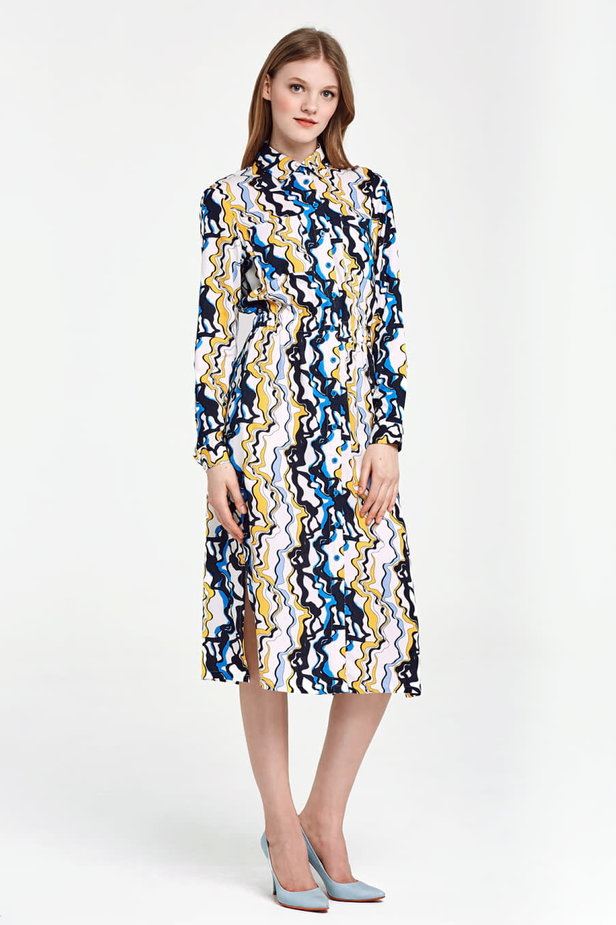 Midi dress with an elastic waistband and pockets, yellow and blue print photo 6 - MustHave online store
