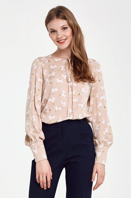 Beige shirt with ties, floral print
