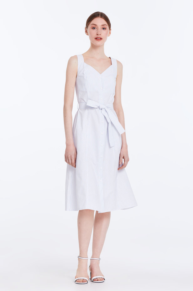 White sundress with blue stripes and a belt photo 2 - MustHave online store