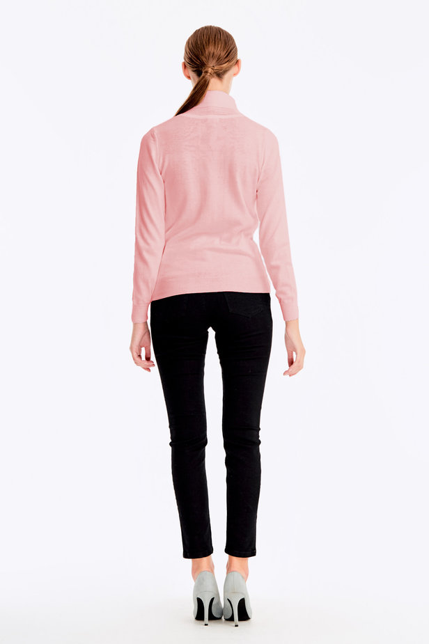 Powder pink polo neck with cotton photo 4 - MustHave online store