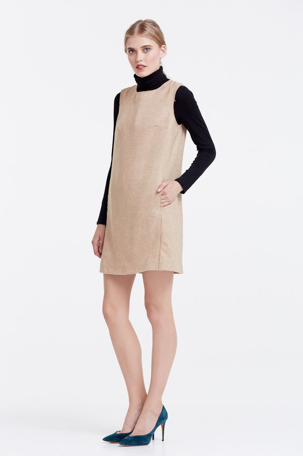 Above the knee straight beige sundress photo 2 - MustHave online store