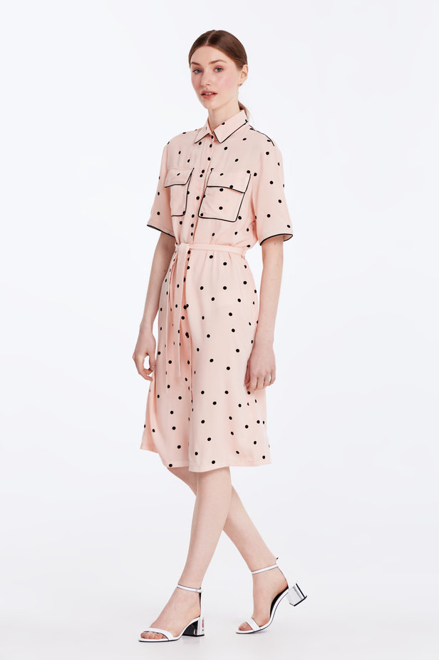 Beige dress with a black polka dot print and a black piping photo 4 - MustHave online store