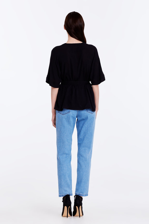 Wrap black shirt with a belt photo 6 - MustHave online store
