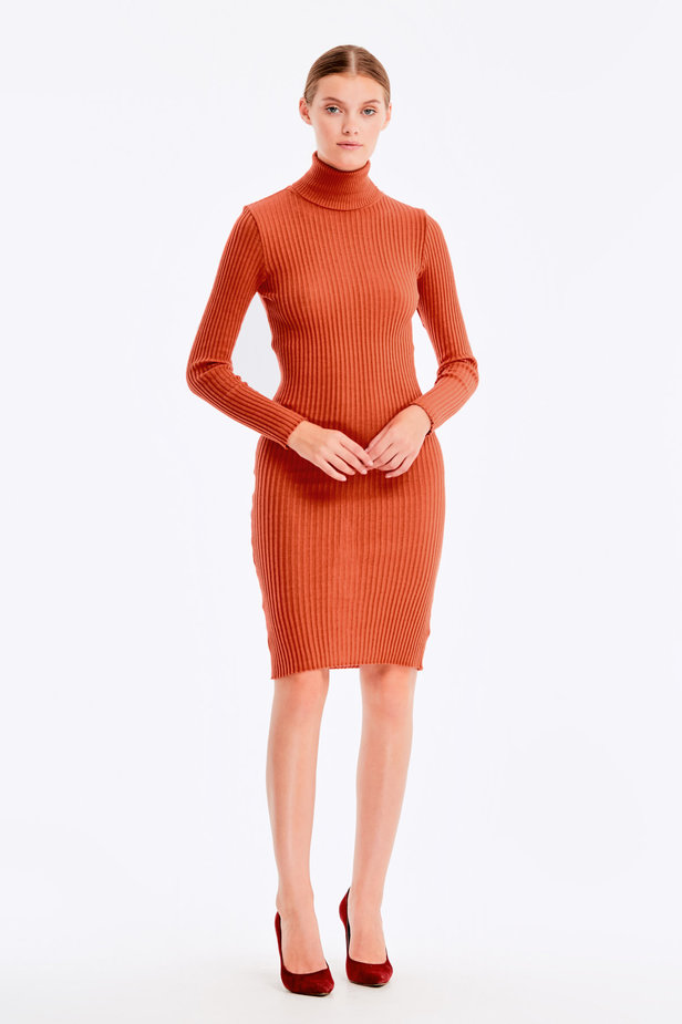 Terra-cotta knit dress photo 2 - MustHave online store