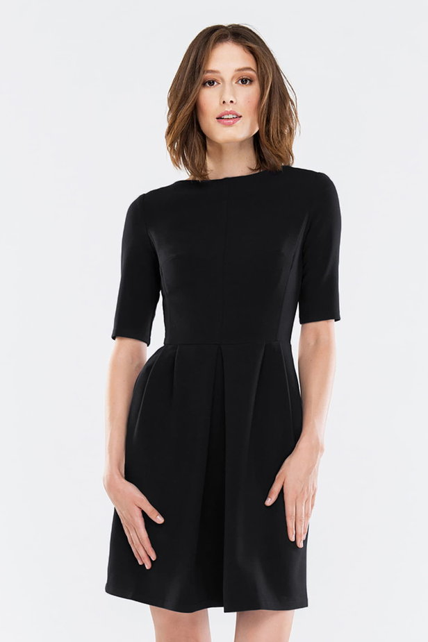 Black dress with folds photo 1 - MustHave online store