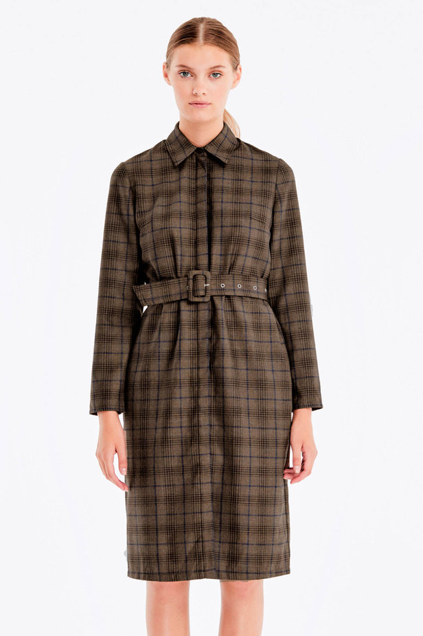 Brown dress with dark-blue check print photo 1 - MustHave online store