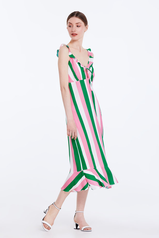 Sundress with white, green and pink stripes and a flounce photo 5 - MustHave online store